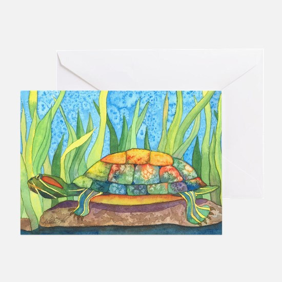 Tie Dye Turtle Watercolor Greeting Card
