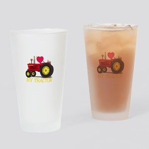 I Love My Tractor Drinking Glass