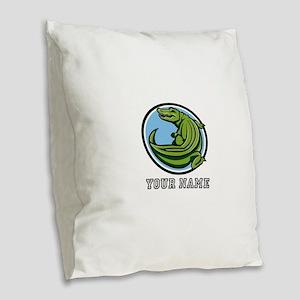 Green Alligator (Custom) Burlap Throw Pillow