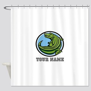 Green Alligator (Custom) Shower Curtain