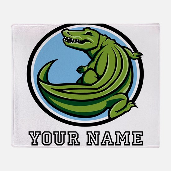 Green Alligator (Custom) Throw Blanket