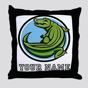 Green Alligator (Custom) Throw Pillow