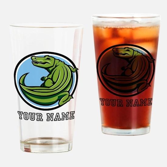 Green Alligator (Custom) Drinking Glass