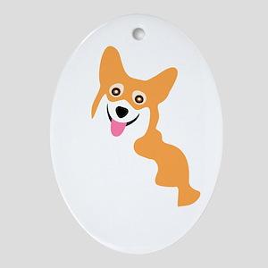 Cute Corgi Dog Ornament (Oval)