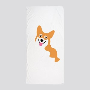 Cute Corgi Dog Beach Towel