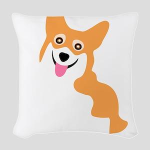 Cute Corgi Dog Woven Throw Pillow