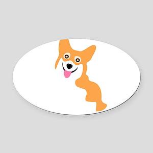 Cute Corgi Dog Oval Car Magnet