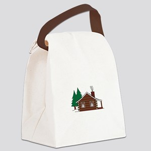 Log Cabin Canvas Lunch Bag