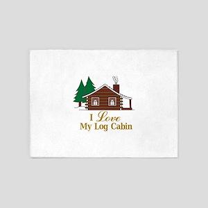 I Love My Log Cabin 5'x7'Area Rug
