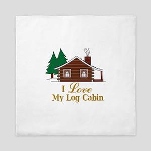 I Love My Log Cabin Queen Duvet