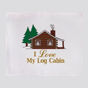 I Love My Log Cabin Throw Blanket