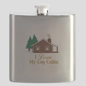 I Love My Log Cabin Flask