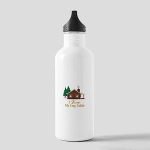 I Love My Log Cabin Water Bottle