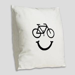Bike Smile Burlap Throw Pillow
