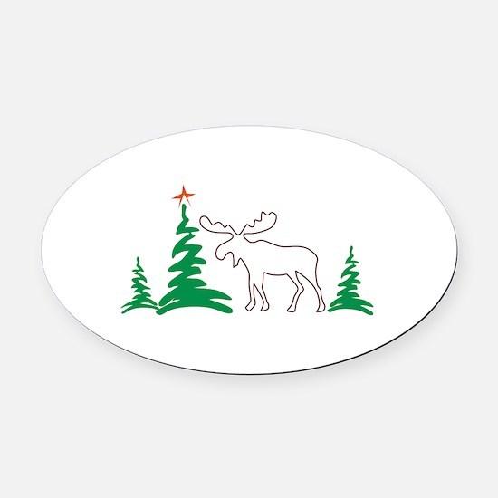 Christmas Moose Outline Oval Car Magnet