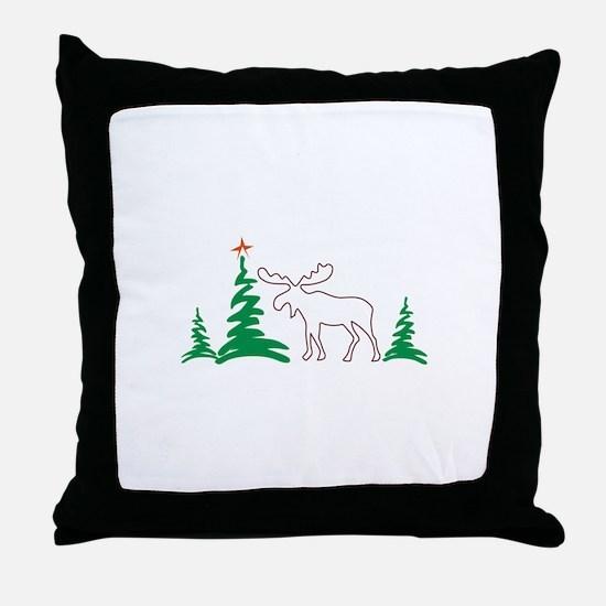 Christmas Moose Outline Throw Pillow