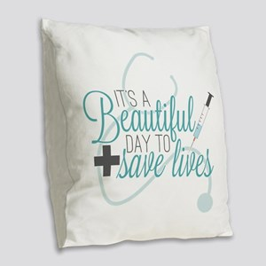 Grey's Anatomy: A Beautiful Da Burlap Throw Pillow