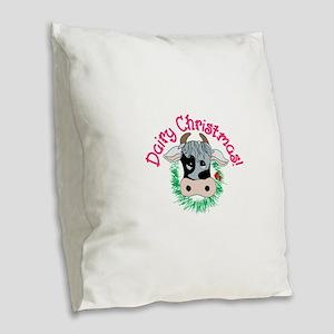 Dairy Christmas Burlap Throw Pillow