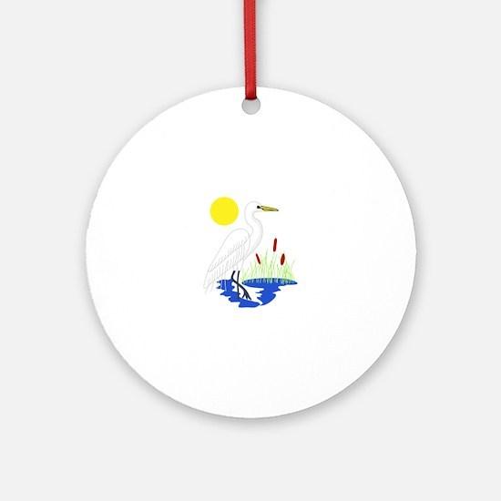 Egret Scene Ornament (Round)
