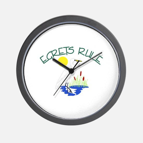 Egrets Rule Wall Clock