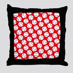 Red Baseball Pattern Throw Pillow