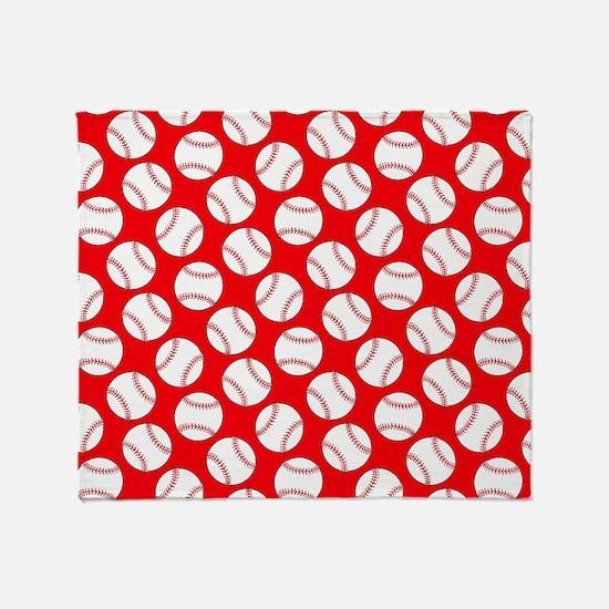 Red Baseball Pattern Throw Blanket