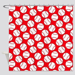 Red Baseball Pattern Shower Curtain