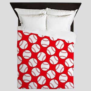 Red Baseball Pattern Queen Duvet