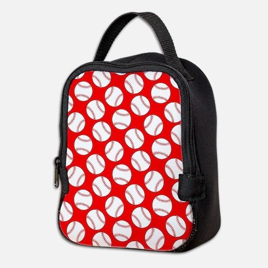 Red Baseball Pattern Neoprene Lunch Bag