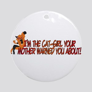Cat-Girl Warned Ornament (Round)