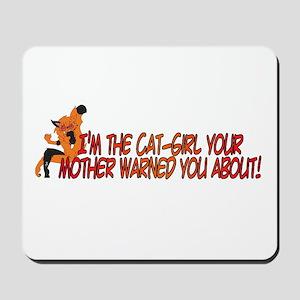 Cat-Girl Warned Mousepad