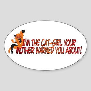 Cat-Girl Warned Oval Sticker