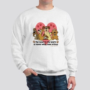 The Road To My Heart Dog Paw Prints Sweatshirt
