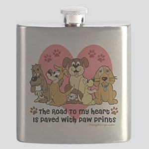 The Road To My Heart Dog Paw Prints Flask