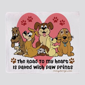 The Road To My Heart Dog Paw Prints Throw Blanket