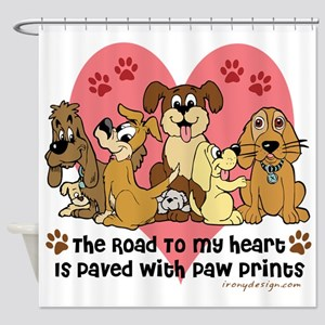 The Road To My Heart Dog Paw Prints Shower Curtain
