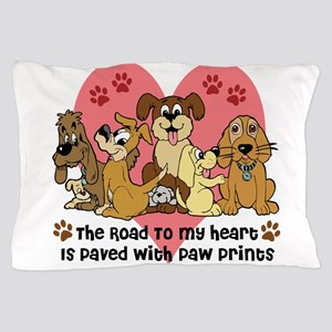 The Road To My Heart Dog Paw Prints Pillow Case