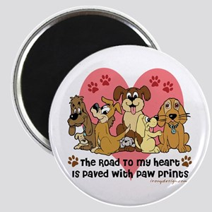 The Road To My Heart Dog Paw Prints Magnet