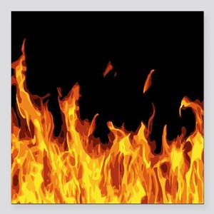 "Flames Square Car Magnet 3"" x 3"""