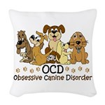 OCD Obsessive Canine Disorder Woven Throw Pillow