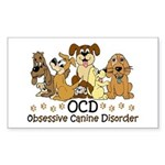 OCD Obsessive Canine Disorder Sticker (Rectangle)