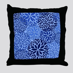 Vintage Floral Pattern Blue Throw Pillow