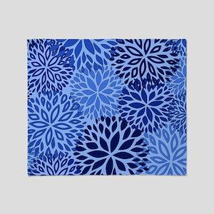 Vintage Floral Pattern Blue Throw Blanket