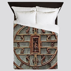 Carved Wooden Door, with Chinese Motif Queen Duvet
