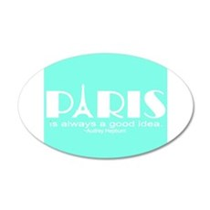 Paris Audrey Hepburn Mint Green Wall Decal