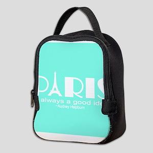 Paris Audrey Hepburn Mint Green Neoprene Lunch Bag