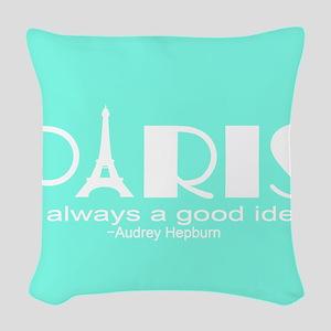 Paris Audrey Hepburn Mint Green Woven Throw Pillow