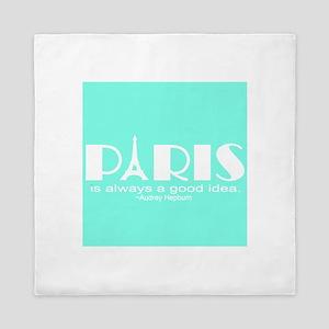 Paris Audrey Hepburn Mint Green Queen Duvet