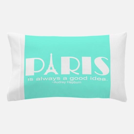 Paris Audrey Hepburn Mint Green Pillow Case