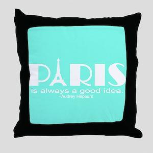 Paris Audrey Hepburn Mint Green Throw Pillow